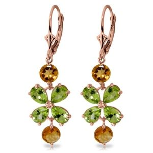 CHANDELIERS EARRING WITH PERIDOTS & CITRINES